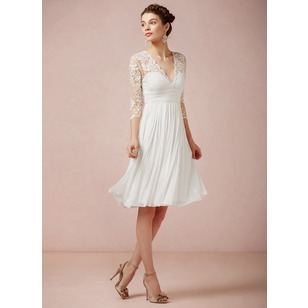 A-Line/Princess V-neck Knee-Length Chiffon Lace Wedding Dress With Ruffle (00205003144)