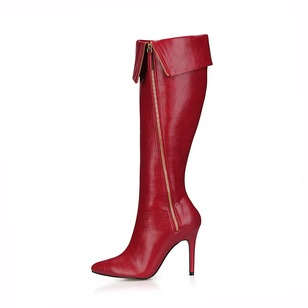 PU Stiletto Heel Knee High Boots Over The Knee Boots With Zipper shoes