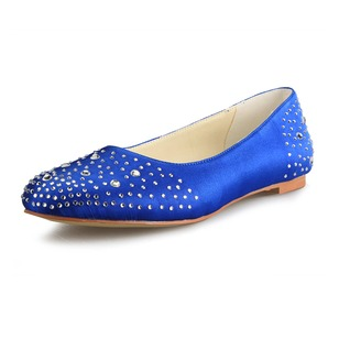 Women's Satin Flat Heel Flats With Rhinestone