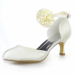 Women's Satin Stiletto Heel Closed Toe Pumps With Buckle Flower