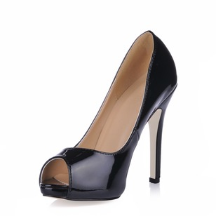 Patent Leather Stiletto Heel Pumps Platform Peep Toe shoes