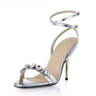 Patent Leather Stiletto Heel Sandals Peep Toe Slingbacks With Rhinestone Buckle shoes