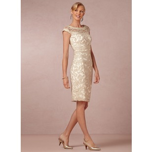 Sheath/Column Scoop Neck Knee-Length Lace Mother of the Bride Dress (0085055960)