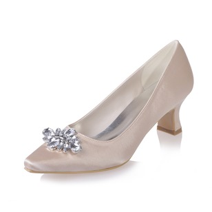 Women's Satin Chunky Heel Closed Toe Pumps With Rhinestone