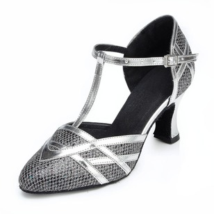 Women's Leatherette Heels Pumps Latin With T-Strap Dance Shoes