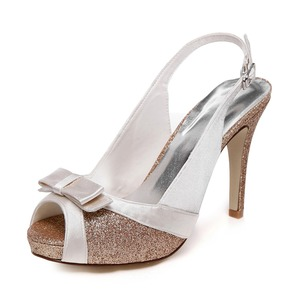 Women's Satin Sparkling Glitter Stiletto Heel Peep Toe Platform Sandals Slingbacks With Bowknot