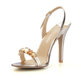 Patent Leather Stiletto Heel Sandals Peep Toe With Rhinestone shoes