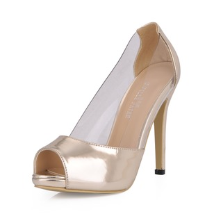 Patent Leather Stiletto Heel Pumps Platform Peep Toe shoes (0855102324)