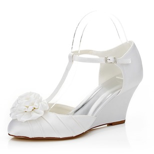 Women's Satin Wedge Heel Closed Toe Wedges With Buckle Flower