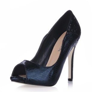 Lackskinn Stilettklack Pumps Plattform Peep Toe med Animal Print skor