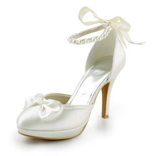 Women's Satin Stiletto Heel Closed Toe With Bowknot Imitation Pearl Satin Flower