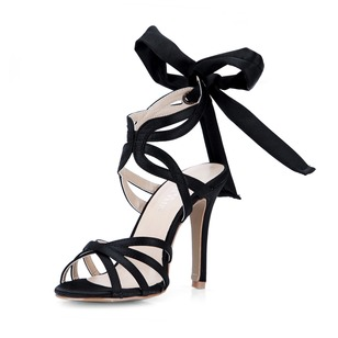 Silk Like Satin Stiletto Heel Sandals Pumps With Bowknot shoes (0875100532)