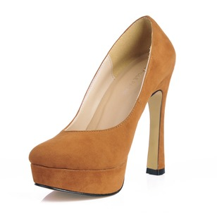 Suede Chunky Heel Pumps Closed Toe shoes