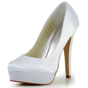 Women's Satin Stiletto Heel Closed Toe Platform Pumps