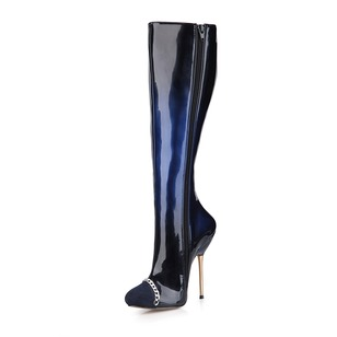 Suede Patent Leather Stiletto Heel Closed Toe Boots Over The Knee Boots With Zipper Others shoes
