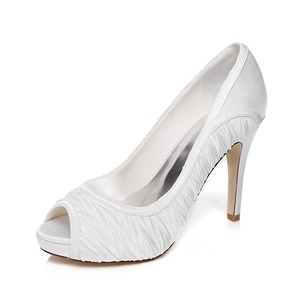 Women's Satin Stiletto Heel Peep Toe Platform Pumps