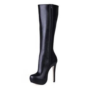 Leatherette Stiletto Heel Closed Toe Boots Knee High Boots shoes