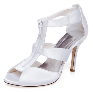 Women's Satin Peep Toe Sandals With Zipper