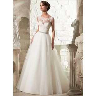 Ball-Gown Scoop Neck Court Train Organza Tulle Wedding Dress With Beading Appliques Lace (0025060030)