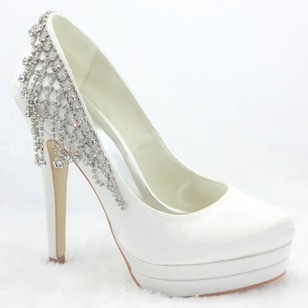 Women's Satin Stiletto Heel Closed Toe Platform Pumps With Rhinestone Tassel