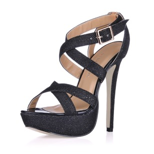 Sparkling Glitter Stiletto Heel Sandals Platform Peep Toe With Buckle shoes