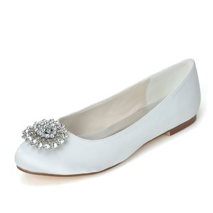 Women's Satin Flat Heel Closed Toe Flats With Rhinestone (0475100109)