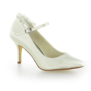 Satijn Stiletto Heel Closed Toe Pumps met Gesp