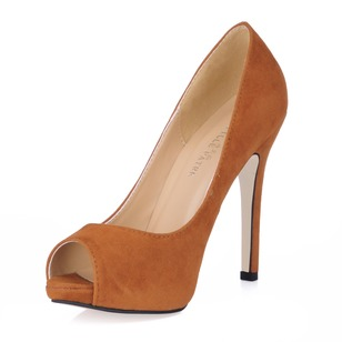 Suede Stiletto Heel Pumps Platform Peep Toe shoes