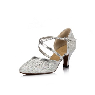 Women's Sparkling Glitter Heels Pumps Modern With Ankle Strap Dance Shoes (0535099706)