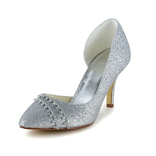 Women's Sparkling Glitter Stiletto Heel Closed Toe Pumps With Rhinestone