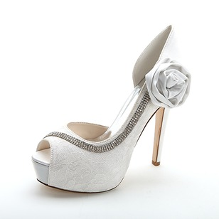 Women's Lace Stiletto Heel Peep Toe Platform Pumps Sandals With Rhinestone Satin Flower