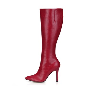 PU Stiletto Heel Knee High Boots With Zipper shoes