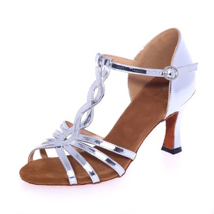 Women's Leatherette Heels Sandals Latin With T-Strap Dance Shoes (0535100269)