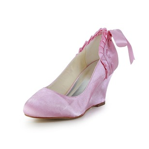 Women's Satin Wedge Heel Closed Toe Wedges With Bowknot Ruched