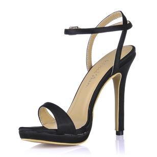 Silk Like Satin Stiletto Heel Sandals Peep Toe With Buckle shoes