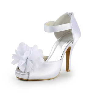 Women's Satin Peep Toe Platform Pumps With Satin Flower