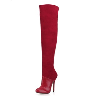 Suede PU Stiletto Heel Closed Toe Boots Over The Knee Boots With Zipper shoes