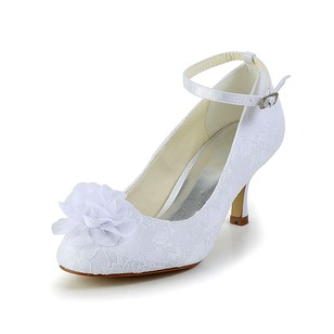 Women's Net Yarn Stiletto Heel Closed Toe Pumps With Buckle Stitching Lace Flower