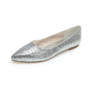 Women's Sparkling Glitter Flat Heel Closed Toe Flats With Sparkling Glitter