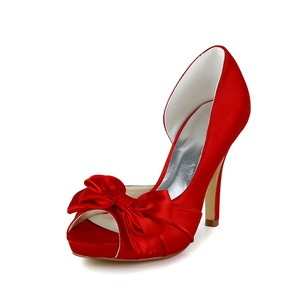 Women's Satin Stiletto Heel Peep Toe Platform Pumps Sandals With Bowknot