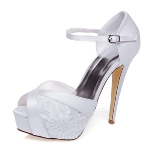 Women's Lace Satin Stiletto Heel Peep Toe Platform Pumps