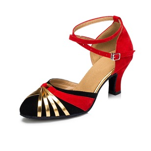 Women's Suede Heels Pumps Latin Tango With Ankle Strap Dance Shoes (0535101485)