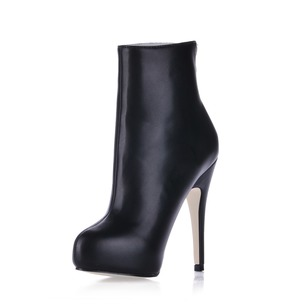 Patent Leather Stiletto Heel Closed Toe Boots Ankle Boots With Zipper shoes