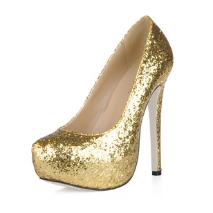 Sparkling Glitter Stiletto Heel Pumps Platform Closed Toe With Sparkling Glitter shoes (0855101755)