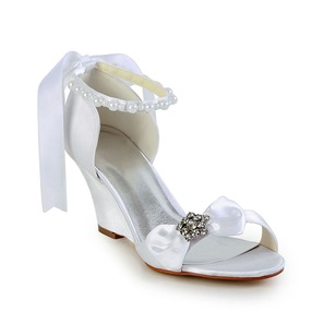 Women's Satin Wedge Heel Peep Toe Wedges With Bowknot Imitation Pearl Rhinestone