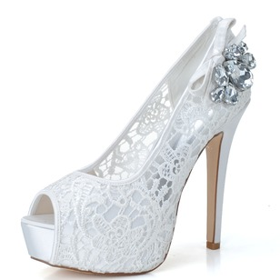 Women's Lace Stiletto Heel Peep Toe Platform Pumps Sandals With Rhinestone