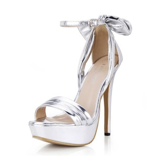 Leatherette Stiletto Heel Sandals Platform shoes