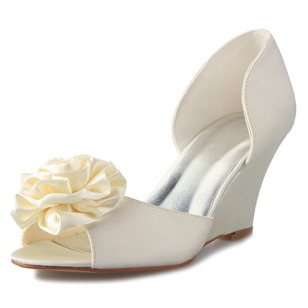 Women's Satin Wedge Heel Peep Toe Wedges With Flower