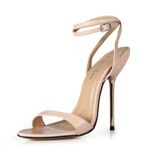 Leatherette Stiletto Heel Sandals Slingbacks With Buckle shoes