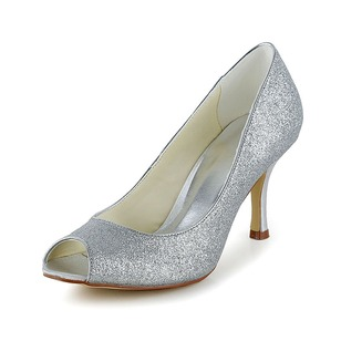 Women's Satin Spool Heel Peep Toe Pumps With Sparkling Glitter